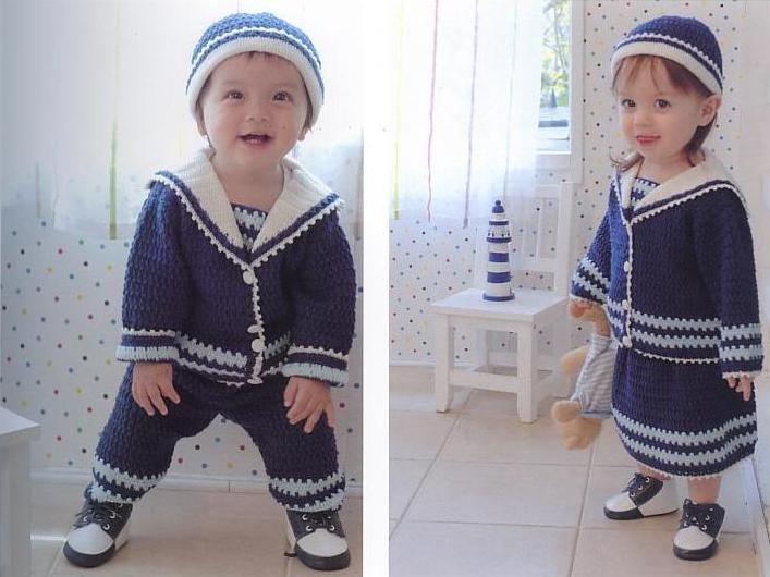 Вязанные костюмы для мальчиков до года со