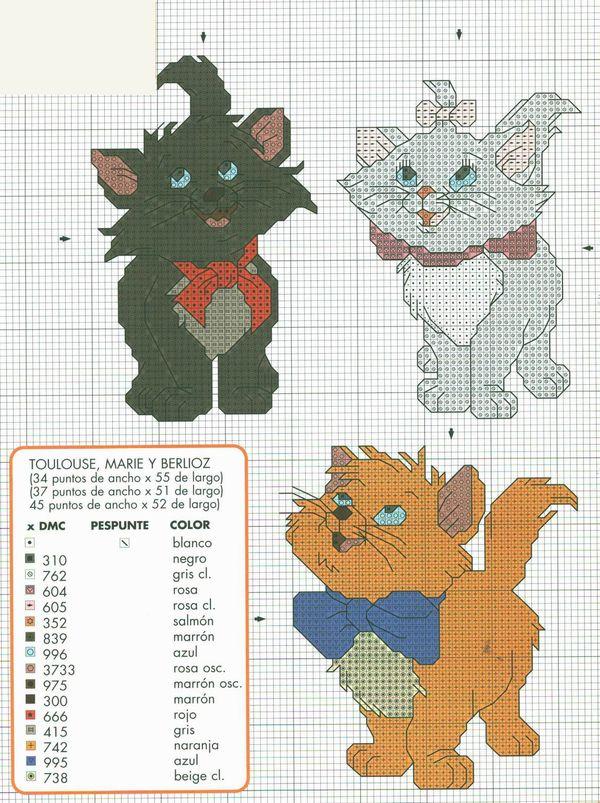 Вышивка крестом схема коты